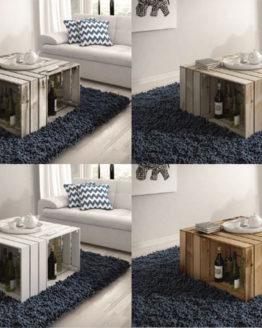 skrzynie drewniane stolik