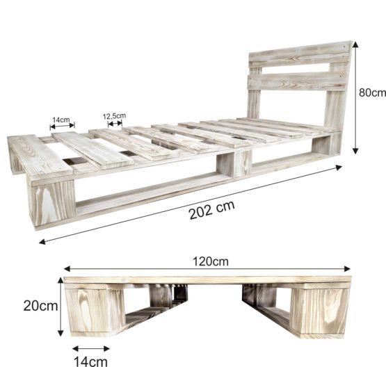 Łóżko rustykalne białe z zagłówkiem