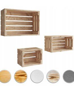 Skrzynka drewniana półka komplet