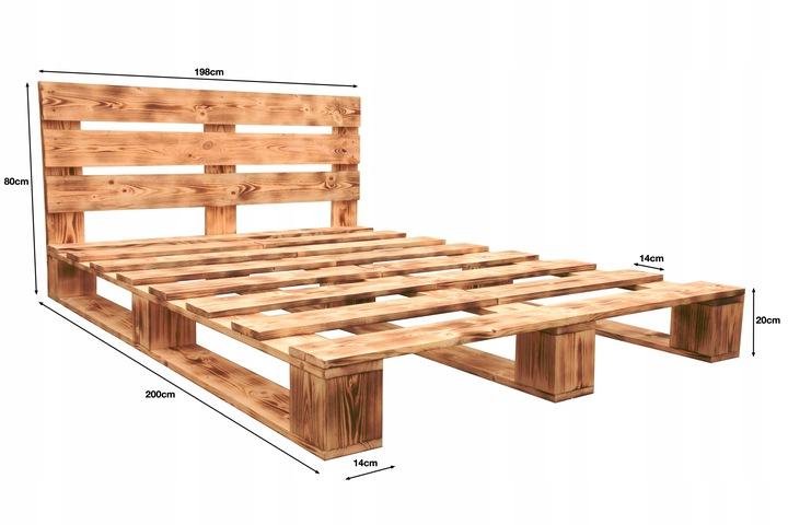 łóżko z palet rustykalne z zagłówkiem