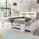 Łóżko z palet M2 z zagłówkiem i szufladami malowane