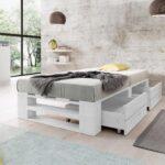 Łóżko z palet M2 z szufladami bez zagłówka malowane