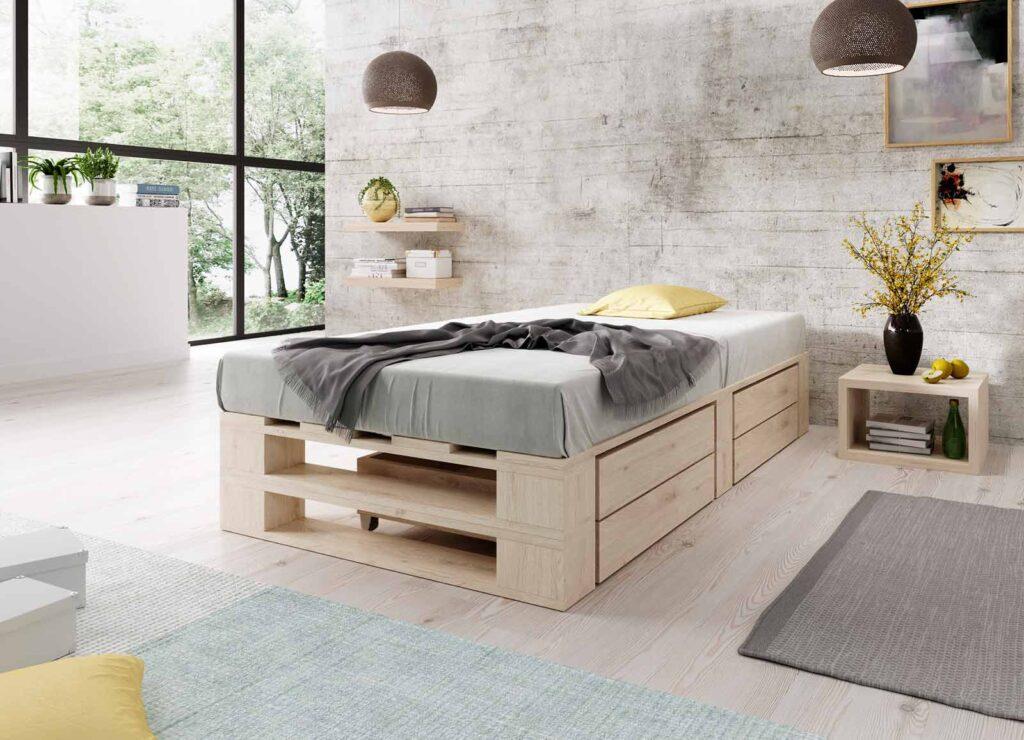 Łóżko z palet M2 z szufladami bez zagłówka naturalne