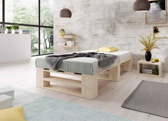Łóżko z palet M2 bez zagłówka bez szuflad naturalne