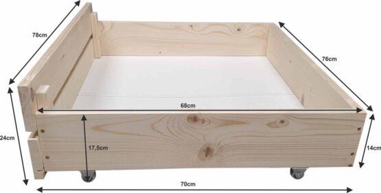 Łóżko z palet M2 z zagłówkiem i szufladami naturalne