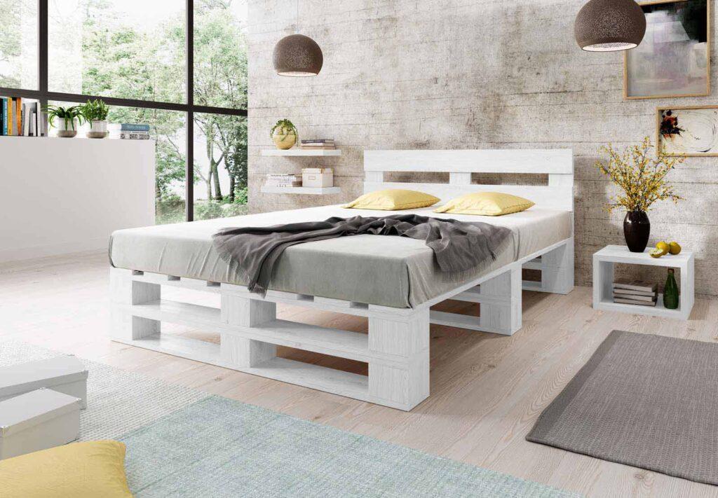 Łóżko z palet M2 bez szuflad z zagłówkiem malowane