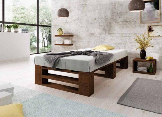 Łóżko z palet M2 bez szuflad bez zagłówka malowane